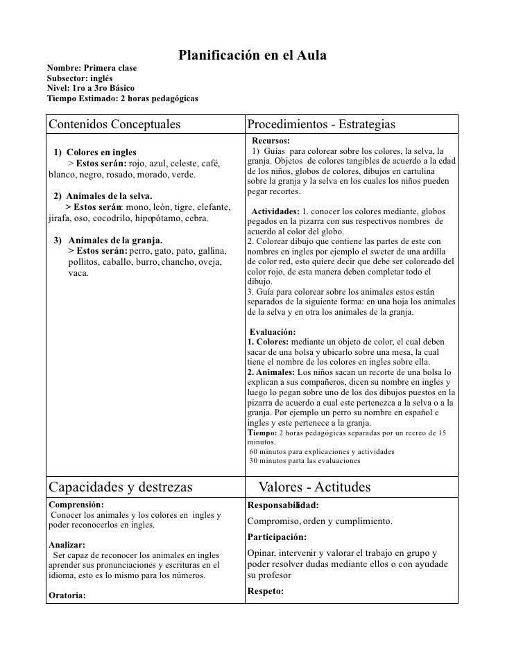 Planificación en el Aula Nombre: Primera clase Subsector: inglés Nivel: 1ro a 3ro Básico Tiempo Estimado: 2 horas pedagógi...