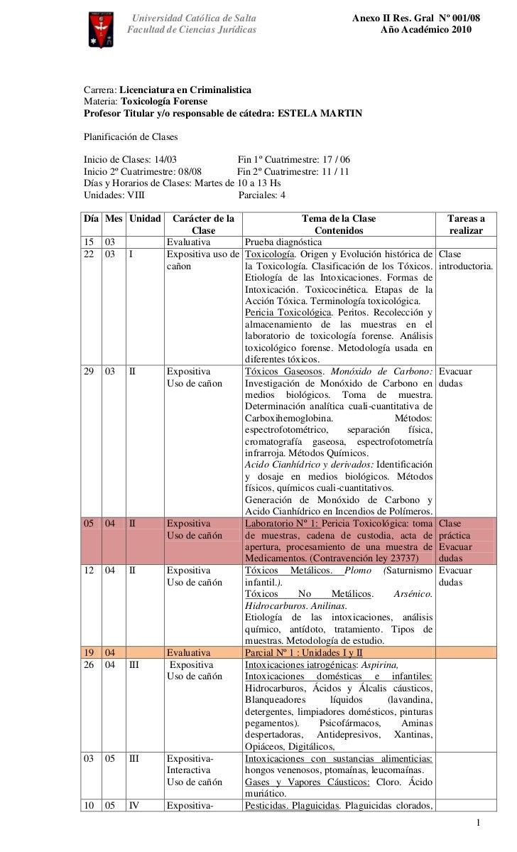 Planificacion Toxicologia 2011