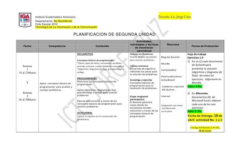 Instituto Guatemalteco Americano                                                                                   Docente...