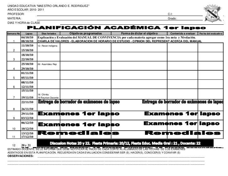 """UNIDAD EDUCATIVA """"MAESTRO ORLANDO E. RODRIGUEZ""""AÑO ESCOLAR: 2010- 2011PROFESOR:                                           ..."""