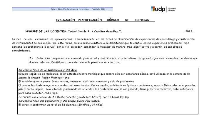 Primer Ciclo Módulo Ciencia Naturales.   Postítulo 2011 -I                                  EVALUACIÓN            PLANIFIC...