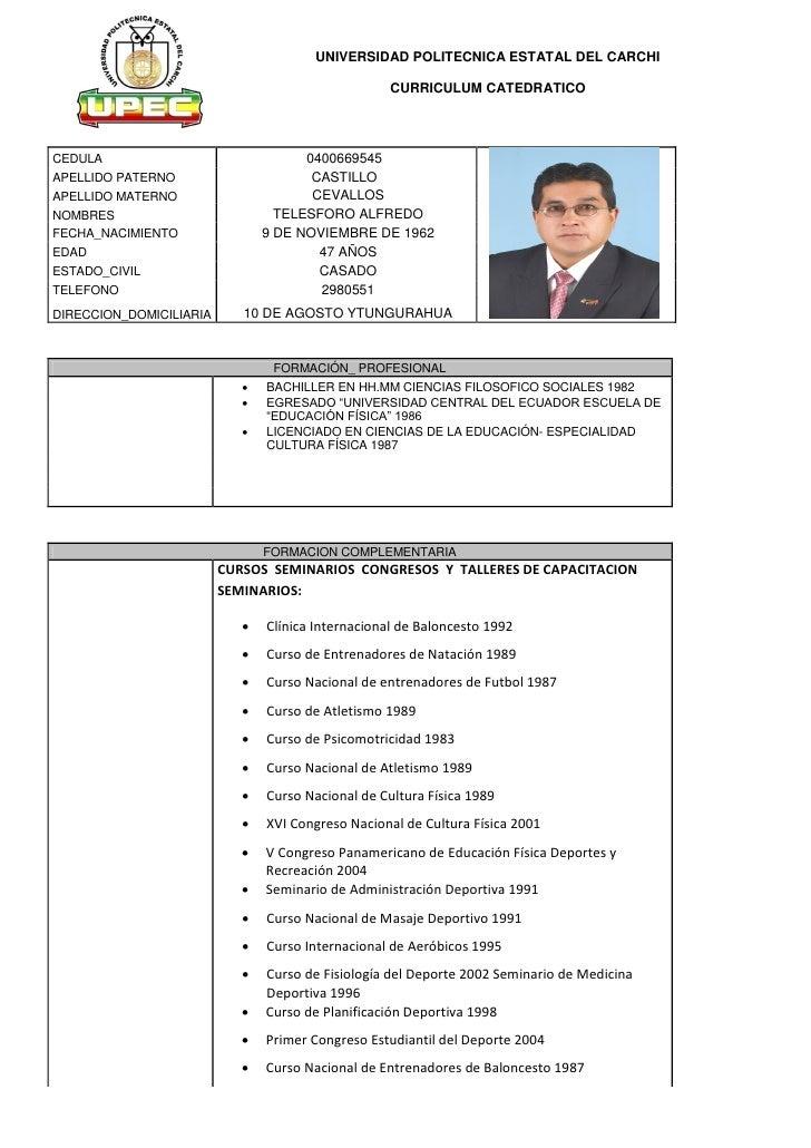 UNIVERSIDAD POLITECNICA ESTATAL DEL CARCHI                                                    CURRICULUM CATEDRATICOCEDULA...