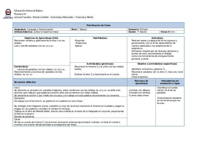 Planificación de clase de lenguaje sección 1