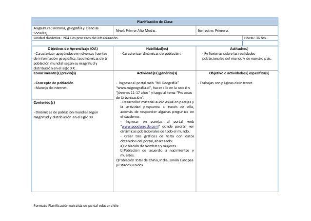 PlanificacióndeClase Asignatura:Historia,geografíayCiencias Nivel:PrimerAñoMedio. Semestre:Primero. Sociales...