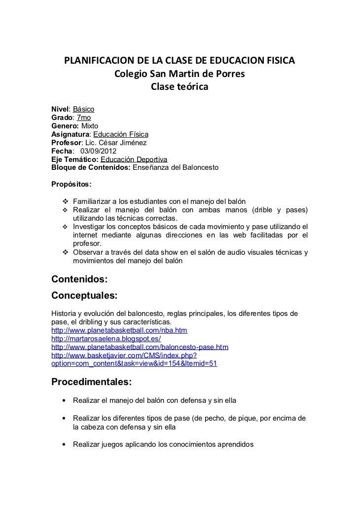 PLANIFICACION DE LA CLASE DE EDUCACION FISICA             Colegio San Martin de Porres                     Clase teóricaNi...