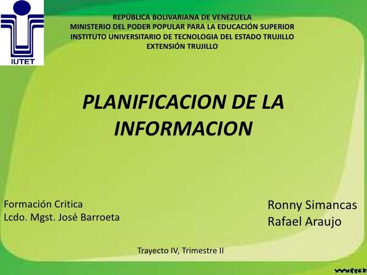 Planificacion de la informacion final