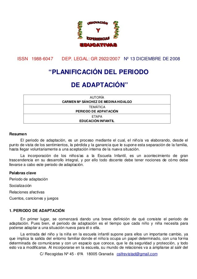 "ISSN 1988-6047            DEP. LEGAL: GR 2922/2007 Nº 13 DICIEMBRE DE 2008                        ""PLANIFICACIÓN DEL PERIO..."