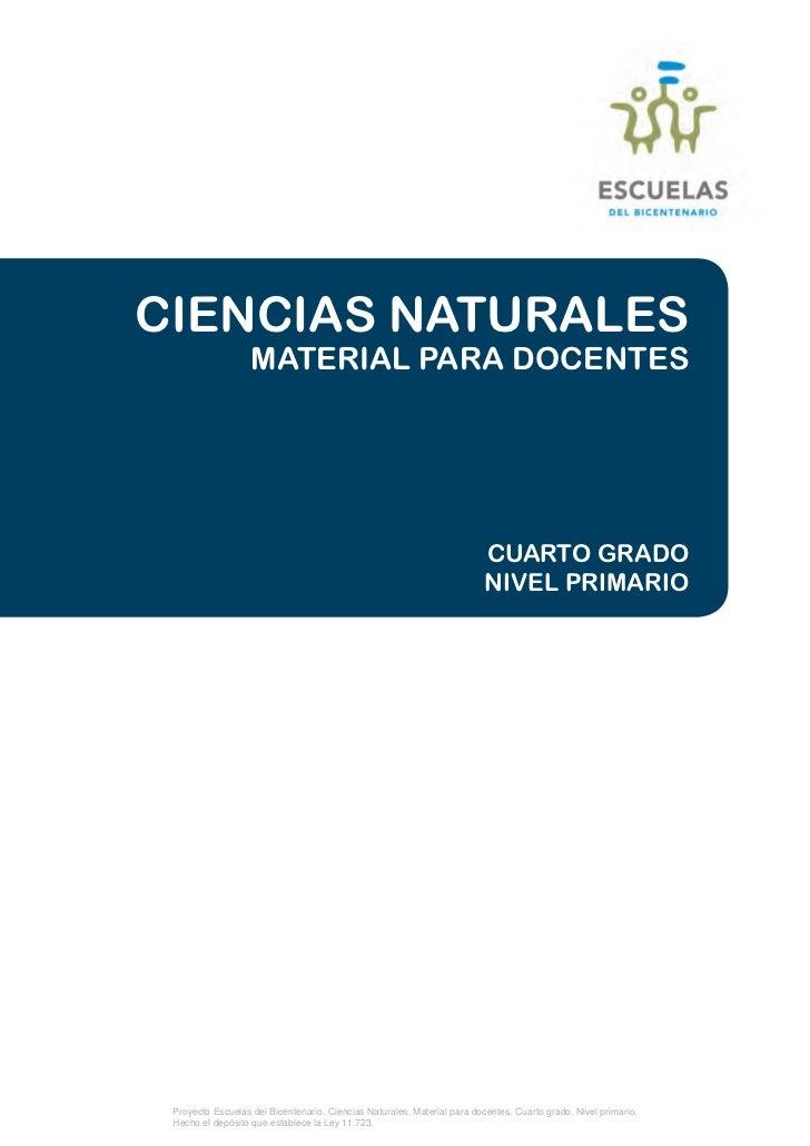 Planificacion de naturales para 4°grado