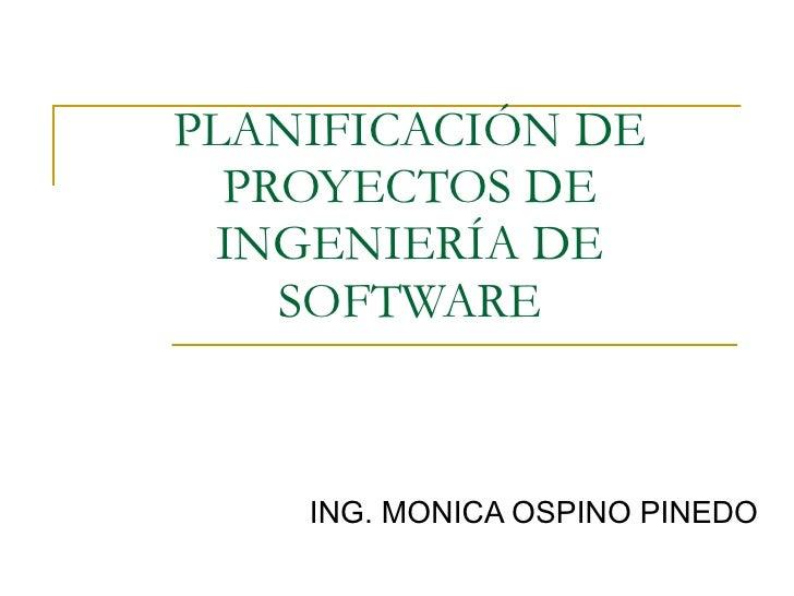 Planificacion De Proyectos de SW