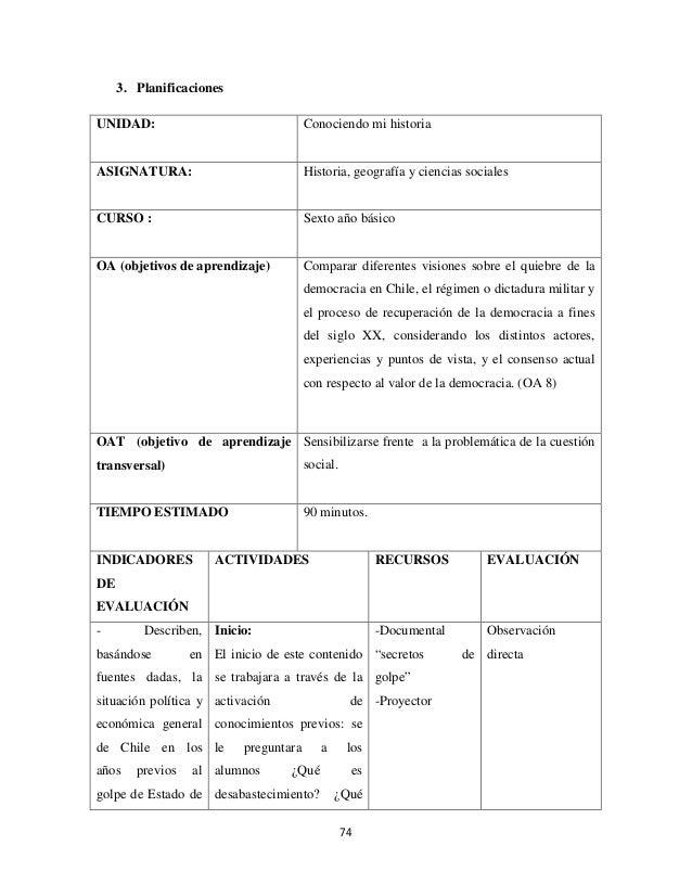 3. Planificaciones UNIDAD:  Conociendo mi historia  ASIGNATURA:  Historia, geografía y ciencias sociales  CURSO :  Sexto a...