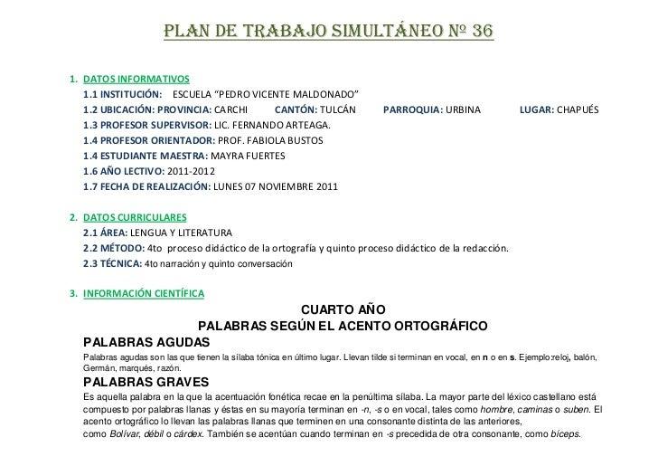 """PLAN DE TRABAJO SIMULTÁNEO Nº 361. DATOS INFORMATIVOS   1.1 INSTITUCIÓN: ESCUELA """"PEDRO VICENTE MALDONADO""""   1.2 UBICACIÓN..."""