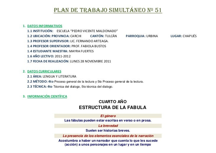 """PLAN DE TRABAJO SIMULTÁNEO Nº 511. DATOS INFORMATIVOS   1.1 INSTITUCIÓN: ESCUELA """"PEDRO VICENTE MALDONADO""""   1.2 UBICACIÓN..."""