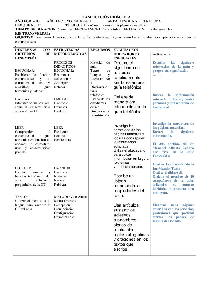 PLANIFICACIÓN DIDÁCTICAAÑO EGB: 4TO            AÑO LECTIVO . 2010 - 2011              AREA: LENGUA Y LITERATURABLOQUE No: ...