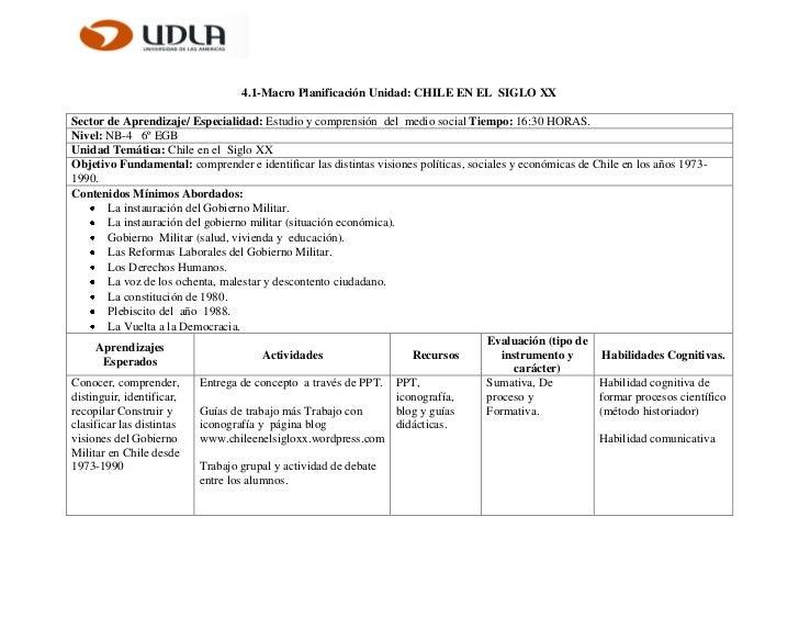 4.1-Macro Planificación Unidad: CHILE EN EL SIGLO XXSector de Aprendizaje/ Especialidad: Estudio y comprensión del medio s...