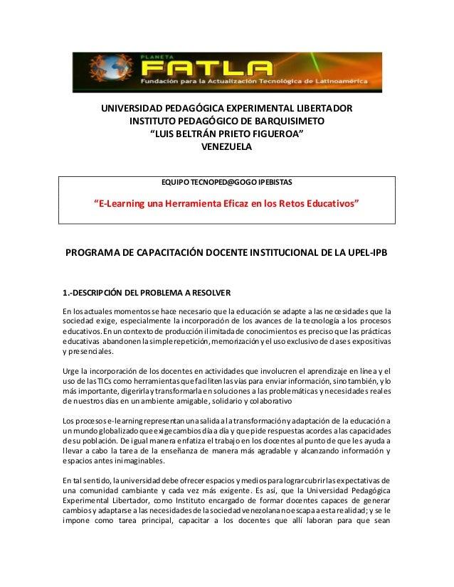 "UNIVERSIDAD PEDAGÓGICA EXPERIMENTAL LIBERTADOR INSTITUTO PEDAGÓGICO DE BARQUISIMETO ""LUIS BELTRÁN PRIETO FIGUEROA"" VENEZUE..."