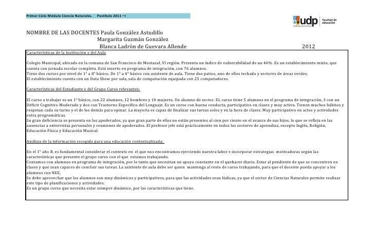 Primer Ciclo Módulo Ciencia Naturales.   Postítulo 2011 –INOMBRE DE LAS DOCENTES Paula González Astudillo                 ...