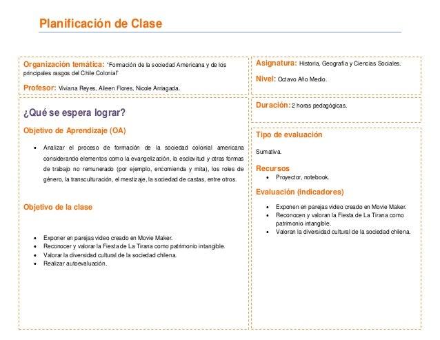 """Planificación de Clase Organización temática: """"Formación de la sociedad Americana y de los principales rasgos del Chile Co..."""