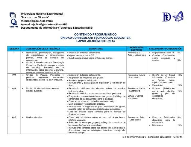 """Eje de Informática y Tecnología Educativa - UNEFM Universidad Nacional Experimental """"Francisco de Miranda"""" Vicerrectorado ..."""