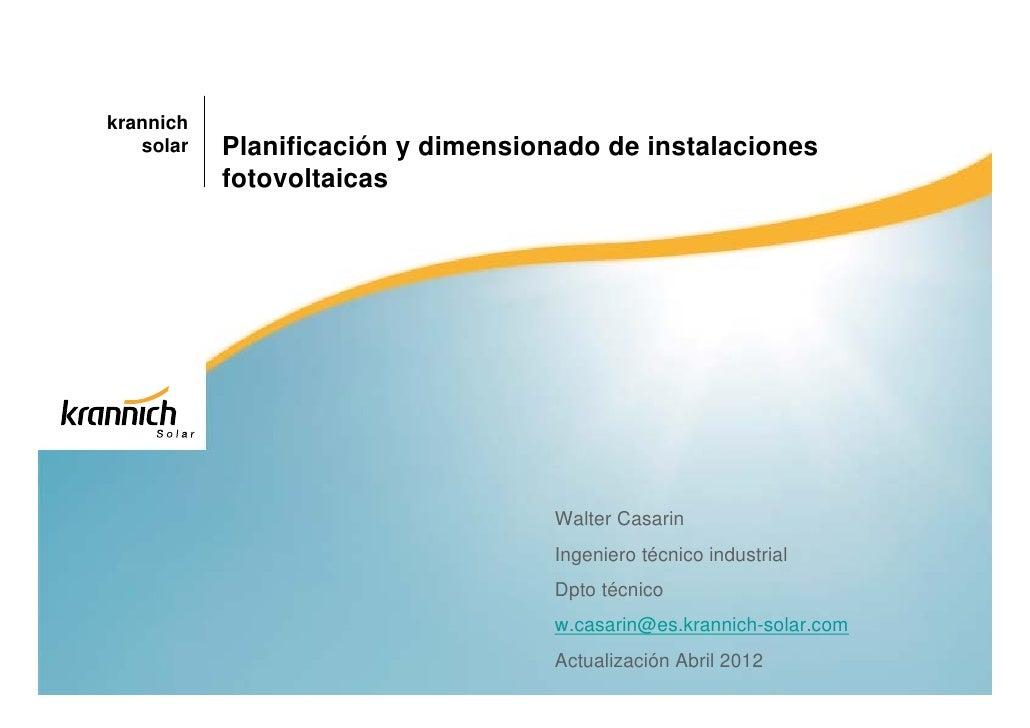 Planificacion y dimensionado de instalaciones - Energia solar tenerife ...