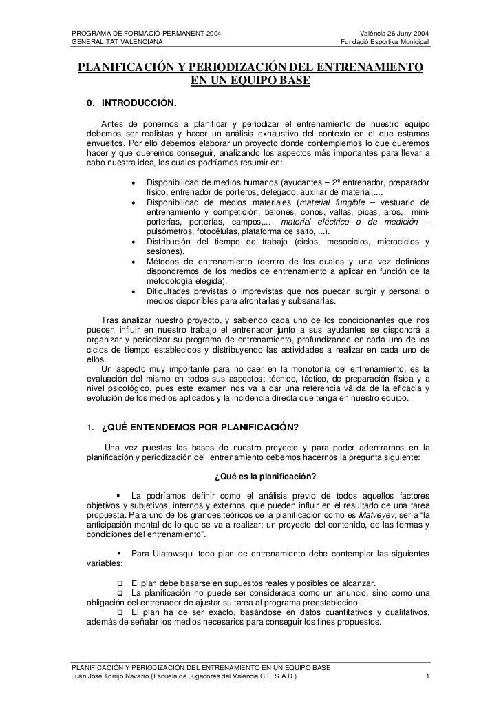 Planificacion Y Periodizacion Del Entrenamiento De Un Equipo