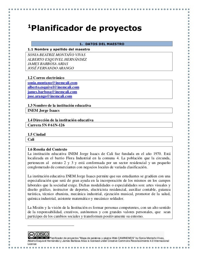 """Planificador de proyectos """"Mapa de palabras y página Web CAMINEMOS"""" by Sonia Montaño Vivas, Alberto Esquivel Hernández y J..."""