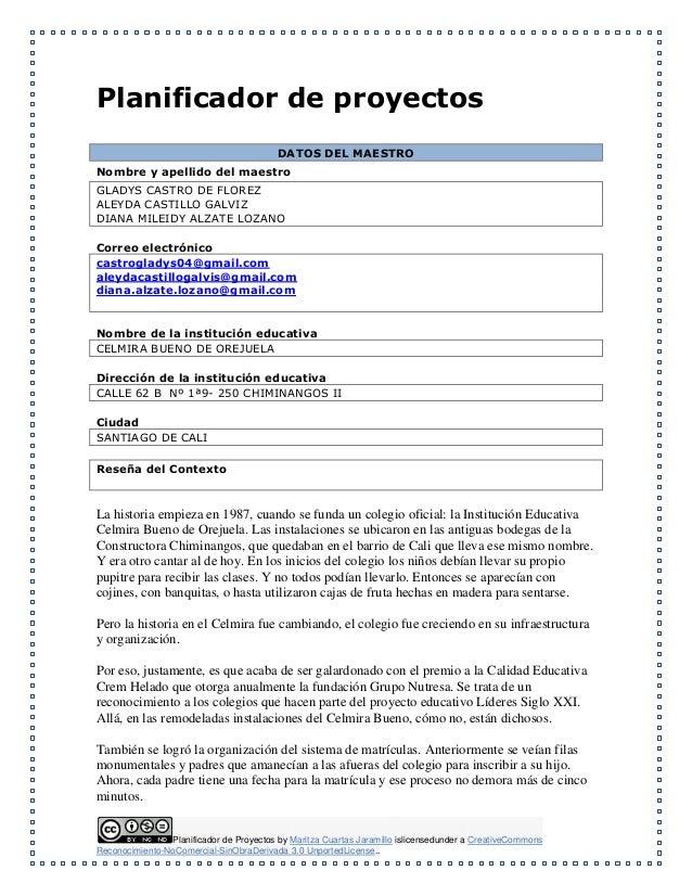 Planificador de Proyectos by Maritza Cuartas Jaramillo islicensedunder a CreativeCommons Reconocimiento-NoComercial-SinObr...