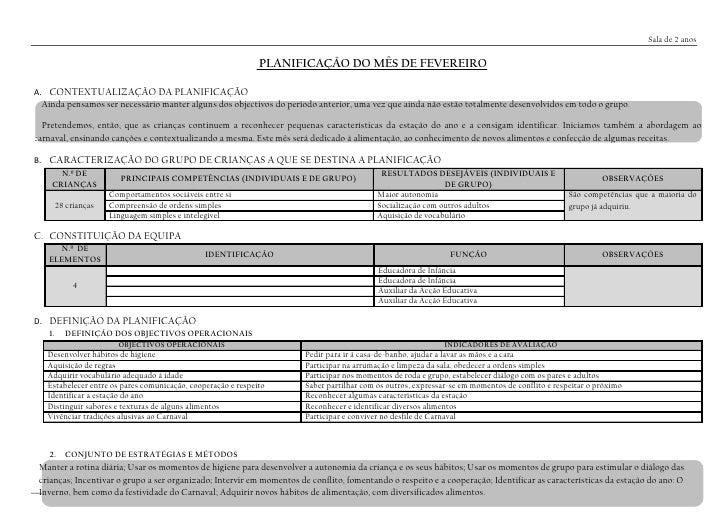 Sala de 2 anos                                                              PLANIFICAÇÃO DO MÊS DE FEVEREIROA. CONTEXTUALI...