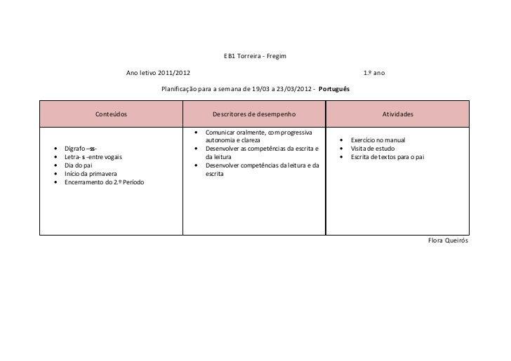 EB1 Torreira - Fregim                        Ano letivo 2011/2012                                                         ...