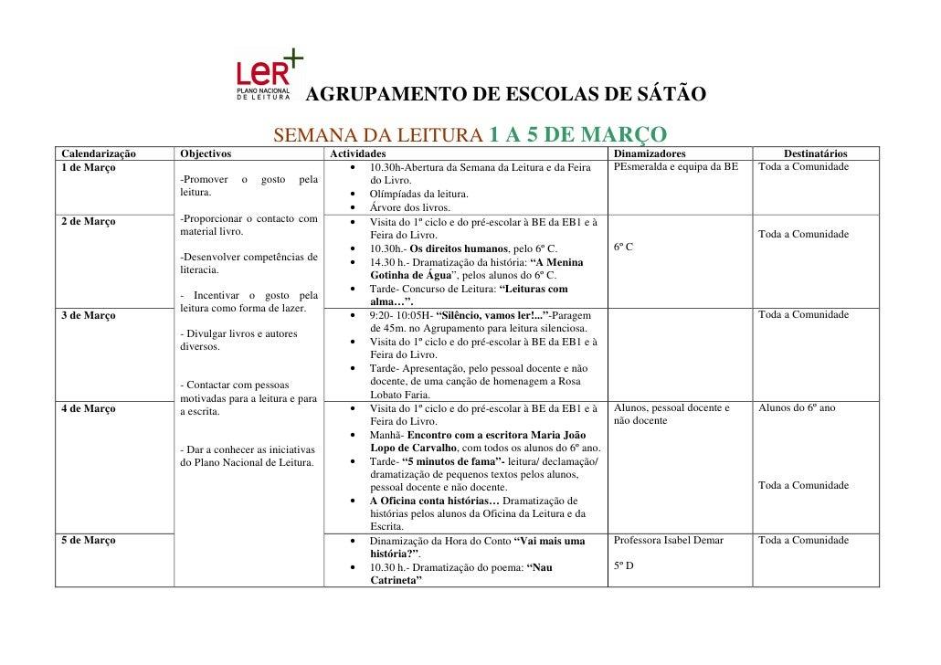 AGRUPAMENTO DE ESCOLAS DE SÁTÃO                                        SEMANA DA LEITURA 1 A 5 DE MARÇO Calendarização   O...