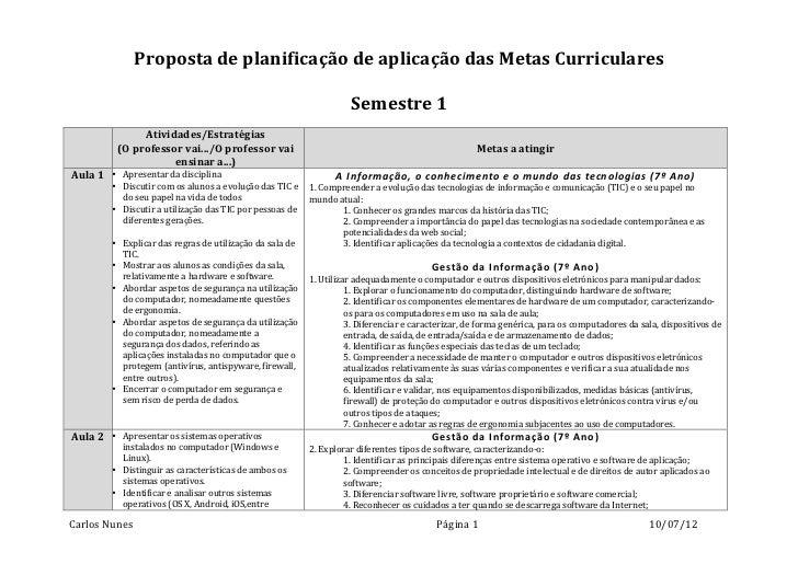 Proposta de planificação de aplicação das Metas Curriculares               ...