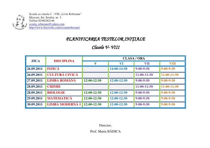 "Şcoala cu clasele I – VIII ""Liviu Rebreanu"" Mioveni, Str. Eroilor, nr. 3 Tel/fax 0248/262146 scoala_rebreanu@yahoo.com htt..."