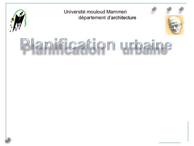 (1) Université mouloud Mammeri département d'architectured'architecture