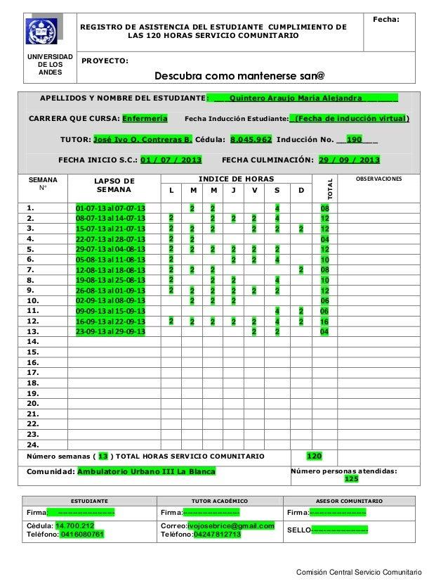UNIVERSIDAD DE LOS ANDES REGISTRO DE ASISTENCIA DEL ESTUDIANTE CUMPLIMIENTO DE LAS 120 HORAS SERVICIO COMUNITARIO Fecha: P...