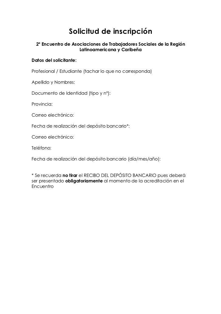 Solicitud de inscripción  2º Encuentro de Asociaciones de Trabajadores Sociales de la Región                     Latinoame...