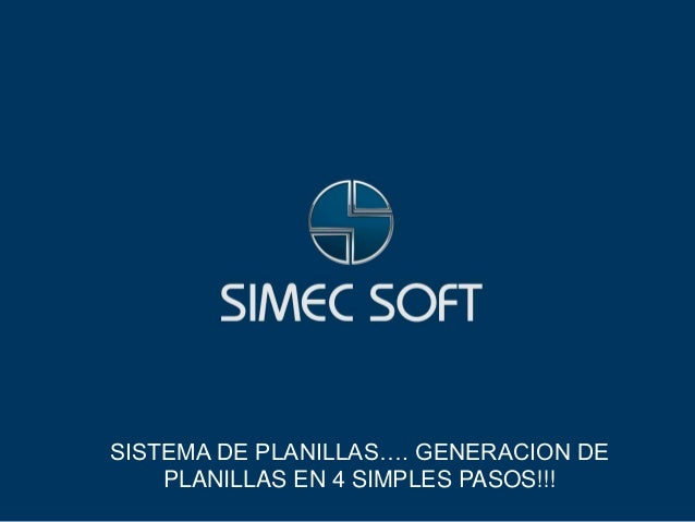 SISTEMA DE PLANILLAS