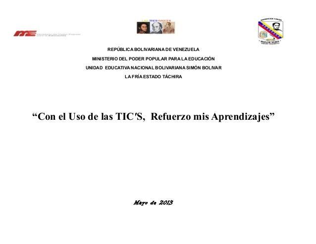 REPÚBLICA BOLIVARIANA DE VENEZUELAMINISTERIO DEL PODER POPULAR PARA LA EDUCACIÓNUNIDAD EDUCATIVA NACIONAL BOLIVARIANA SIMÓ...