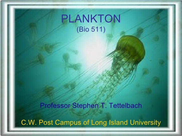 PLANKTON (Bio 511) Professor Stephen T. Tettelbach C.W. Post Campus of Long Island University