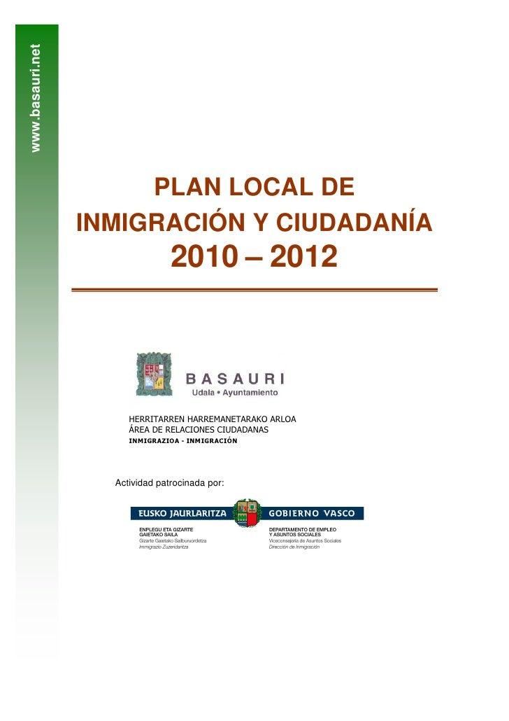 www.basauri.net                            PLAN LOCAL DE                   INMIGRACIÓN Y CIUDADANÍA                       ...