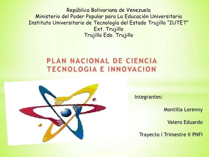 República Bolivariana de Venezuela  Ministerio del Poder Popular para La Educación UniversitariaInstituto Universitario de...