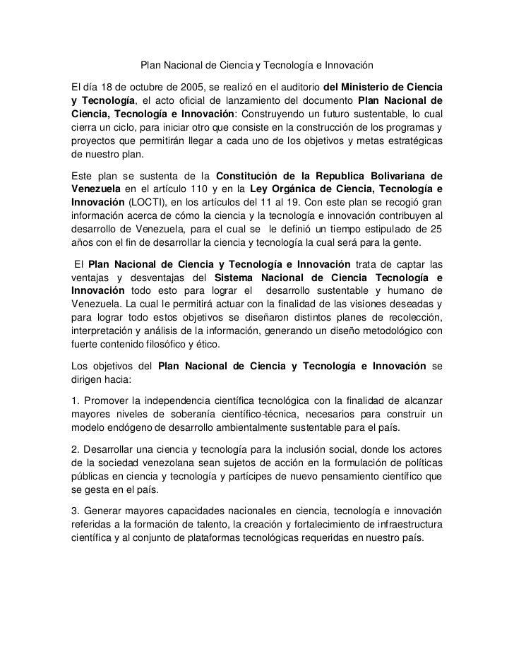 Plan Nacional de Ciencia y Tecnología e Innovación<br />El día 18 de octubre de 2005, se realizó en el auditorio del Minis...