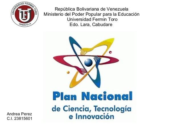 Andrea Perez  C.I. 23815601  República Bolivariana de Venezuela  Ministerio del Poder Popular para la Educación  Universid...