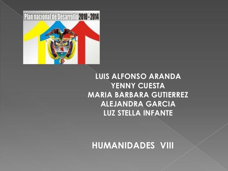 LUIS ALFONSO ARANDA      YENNY CUESTAMARIA BARBARA GUTIERREZ  ALEJANDRA GARCIA   LUZ STELLA INFANTEHUMANIDADES VIII