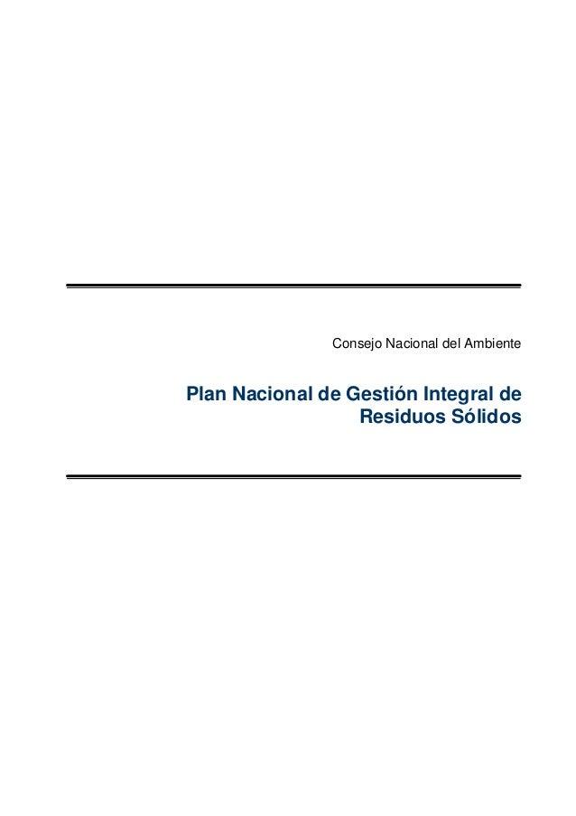 Plan nacional de gestion de residuos solidos