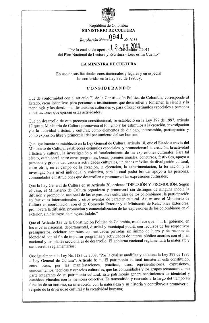 República de Colombia                                 MINISTERIO DE CULTURA                                               ...