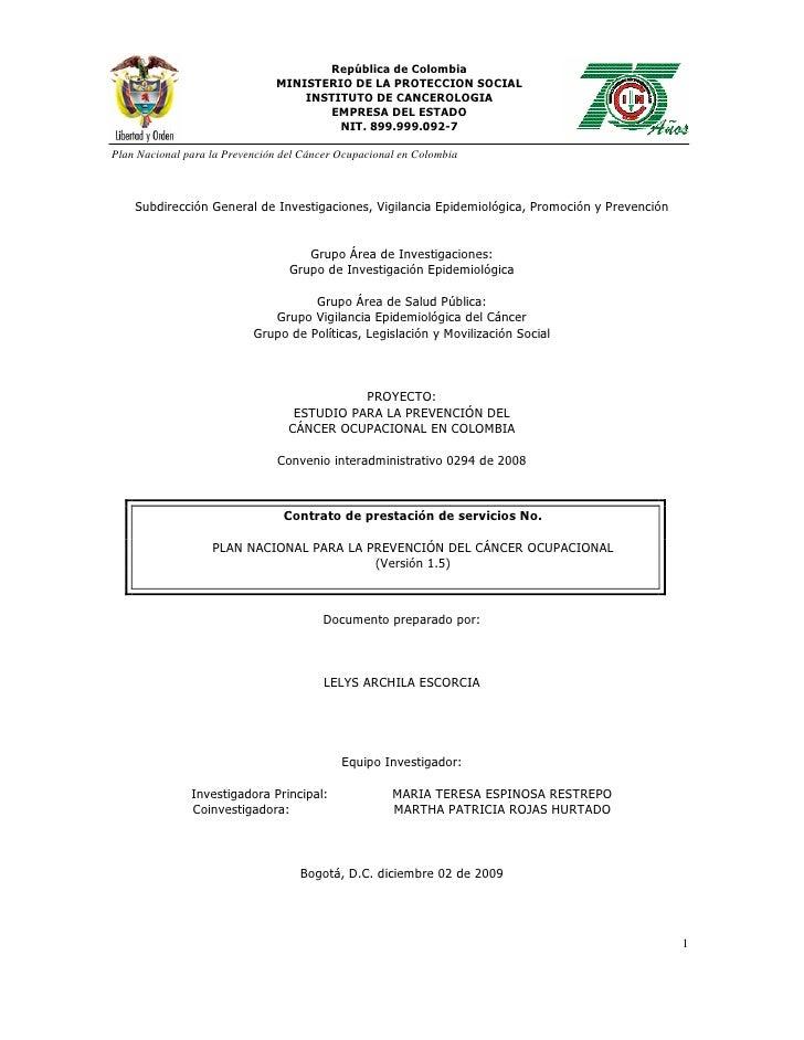 Plan  Nacional De PrevencióN Del CáNcer Documento Final