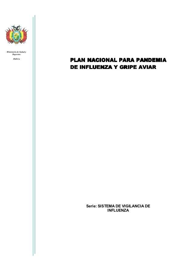 Ministerio de Salud y      Deportes       Bolivia                        PLAN NACIONAL PARA PANDEMIA                      ...