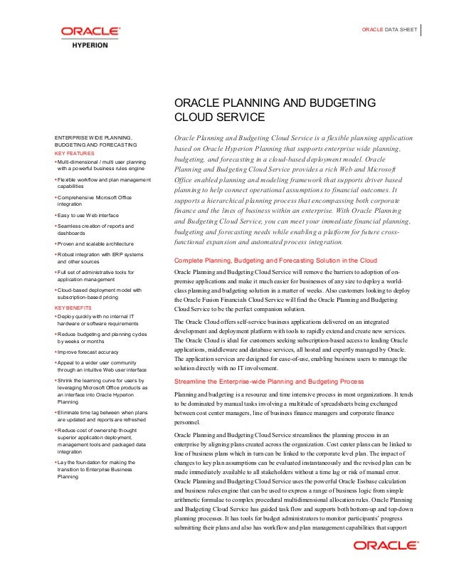 ORACLE DATA SHEET                                            ORACLE PLANNING AND BUDGETING                                ...
