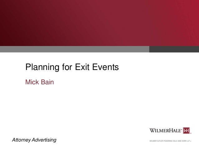 Planning for Exit Events