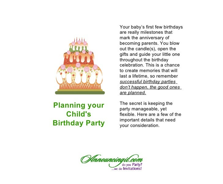 Successful Children's Birthday Parties: It's all in the Planning