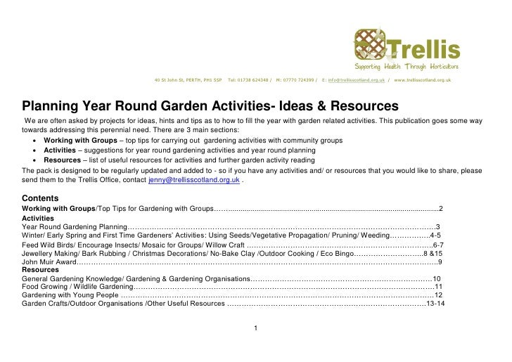 Planning Year-Round Garden Activities - Ideas and Resources